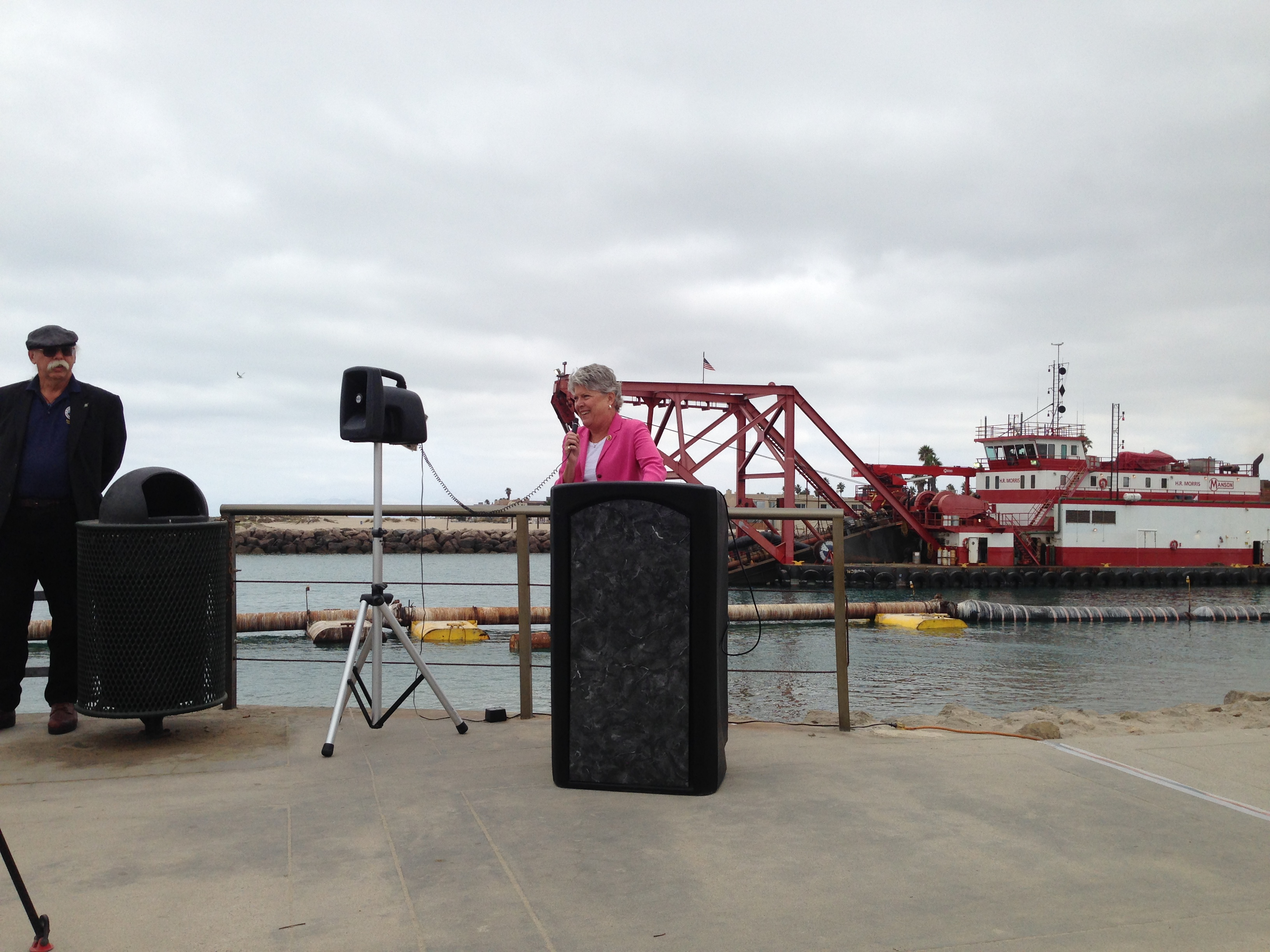 Congresswoman Brownley speaking at Channel Islands Harbor dredging press conference