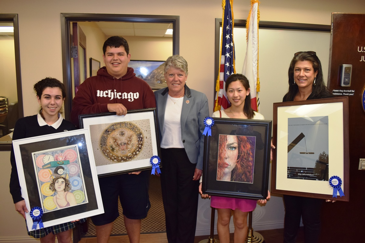 Congresswoman Brownley and winners of the 2015 Congressional Art Competition