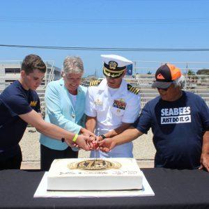 cutting seabee cake