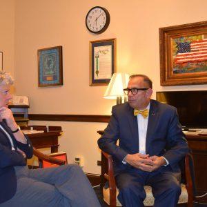 Brownley with  California Department of Veterans Affairs Secretary Vito Imbasciani