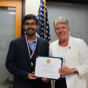 Brownley Meets with Congressional Award Gold Medal to Jagannathan Rangarajan of Thousand Oaks
