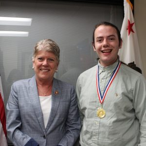 Bronwley Presents the Congressional Award Gold Medal to Mark Hanson of Oxnard